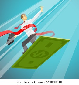 Happy businessman riding on a dollar a success rays crosses the finish line. Vector illustration in flat, cartoon style isolated from the background