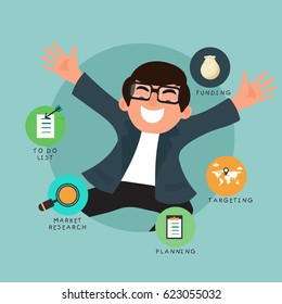 Happy Businessman with right  workflow process.