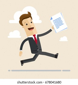 Happy businessman running with contract in his hand. Concept of successful business. Vector, illustration, flat