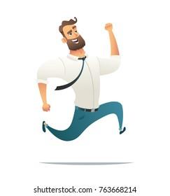 Happy businessman running. Man hurry or late. Cartoon vector illustration.