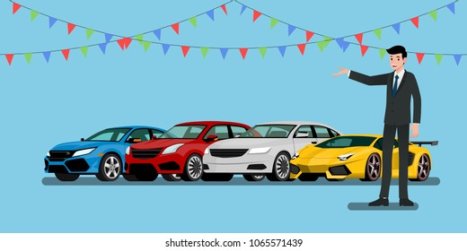 A happy businessman, salesman is standing and present  his vehicles and super car for sell or rent that parked in the shop.Vector illustration design.