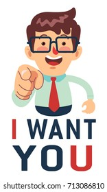 Happy Businessman saying I want you while pointed forward. Great for presentation