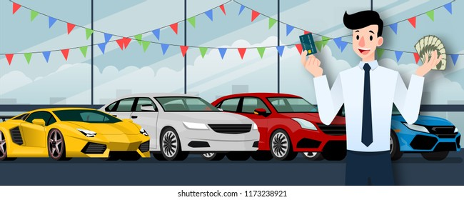 Happy businessman, seller stand and holding a credit card and money in front of group luxury car that parking in large showroom in the city.
