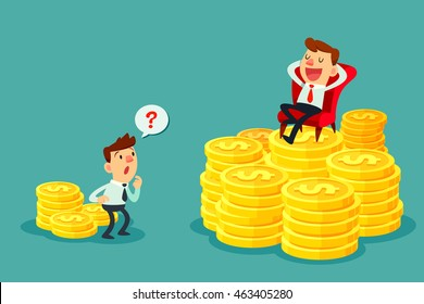 Happy businessman sit on several stacks of gold coins and another businessman only has a few. Investment concept.
