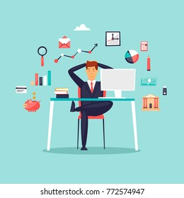 Happy businessman sitting at computer, icon set. Flat design vector illustration.