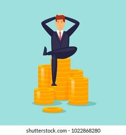 Happy businessman is sitting on the money. Flat design vector illustration.