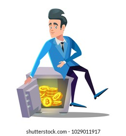 Happy Businessman Sitting on Safe Full of Bitcoin. Crypto Currency Security Technology. Vector illustration