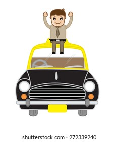 Happy Businessman Sitting Over the Car