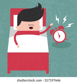 Happy businessman sleeping in bed when the alarm clock rang, wake up early, morning. Concept  illustration. Vector flat design. Trendy graphic cartoon style. Cute funny card