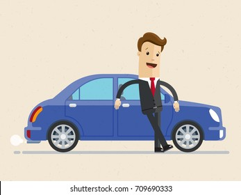 Happy businessman standing near blue car. Illustration  on white background in flat style. Business concept.
