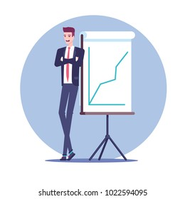 Happy businessman standing near a whiteboard presentation which shows the growing graph flat vector illustration. Business concept growth and progress