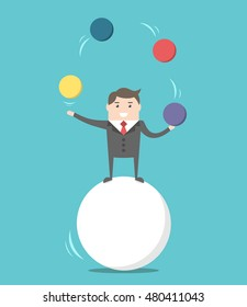 Happy businessman standing on sphere and juggling. Balance, challenge and performance concept. Flat design. EPS 8 vector illustration, no transparency