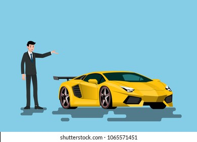 A happy businessman is standing and present  his super car that parked on the street.Vector illustration design.