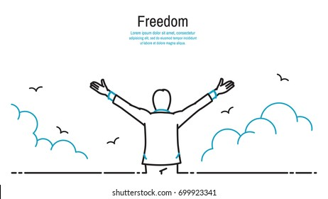 Happy businessman standing and stretching two hands towards sky, business concept in freedom, happiness, peaceful. Outline, thin line art, linear, hand drawn sketching design, simple style.