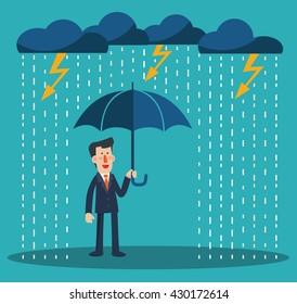 Happy businessman standing with umbrella under thunderstorm. Concept of businessman protection