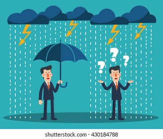Happy businessman standing with umbrella under thunderstorm. Concept of businessman protection. Businessman standing in the rain. Concept of businessman fail and competition