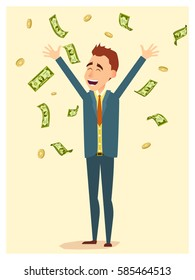 Happy businessman standing under dollar bills falling down. Vector business and profit concept in flat cartoon style