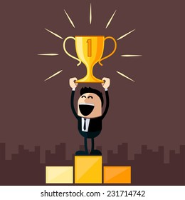 Happy businessman stands on pedestal holds cup overhead cartoon flat design style