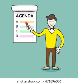 Happy businessman or teacher or coach with marker points to poster with the Agenda. Man stands near the board. Vector