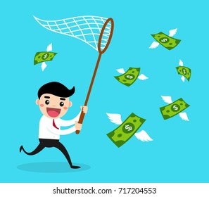 Happy businessman trying to catch money fly.Business concept vector illustration.