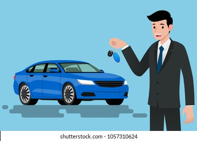 A happy businessman, vehicle seller is standing and holding a key of brand new car for sale. Vector illustration design.