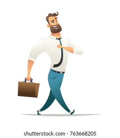 Happy businessman walks or strolls. Cheerful manager goes to work. Cheracter design illustration