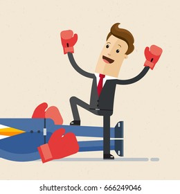 Happy businessman winner  in red boxing gloves standing near big lying mans legs. He defeated a big competitor.  Vector, illustration, flat