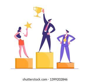 Happy Businessmen Standing on the Winning Podium with Award. Super Businessman with Golden Trophy Cup. Teamwork, Career, Goal Achievement Concept with Successful Characters. Vector flat illustration