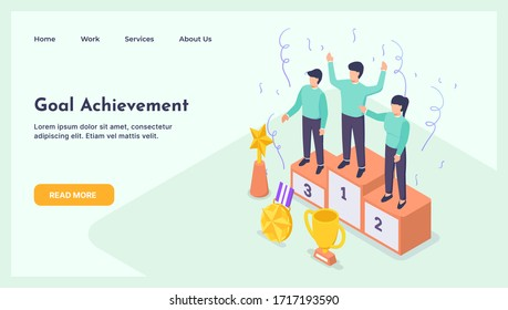 Happy Businessmen Standing on the Winning Podium with Award with modern isometric flat style