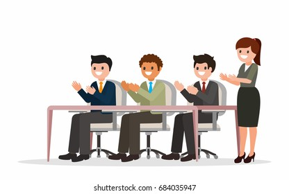 Happy businesspeople clapping and applauding their hands. Business success concept. Flat style illustration. Isolated. Vector.