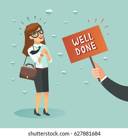 "Happy businesswoman got ""Well done"" from boss. Happy client concept. Vector colorful illustration in flat style"