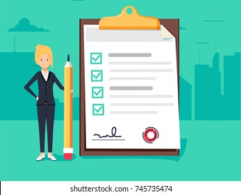 Happy businesswoman holding a pencil near completed checklist on clipboard. Business concept. Illustration of clipboard with checklist and woman for web