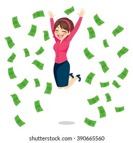 Happy businesswoman jumping surrounded by green money bills falling