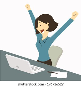 Happy businesswoman raising hands with clenched fists, sitting at her working desk with laptop and paper note, being excited and cheerful. Representing to getting a job or having a good news.