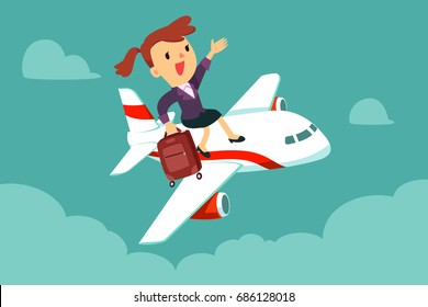 Happy businesswoman with suitcase sit on top of airplane. Business travel and transportation concept.