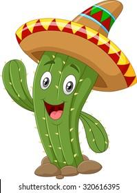 Happy cactus waving hand isolated on white background