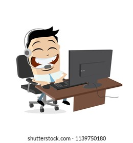 happy call center agent on the phone
