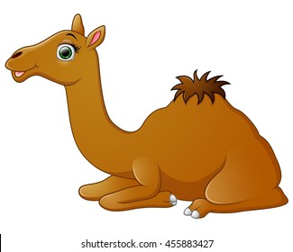 Happy camel cartoon lying down