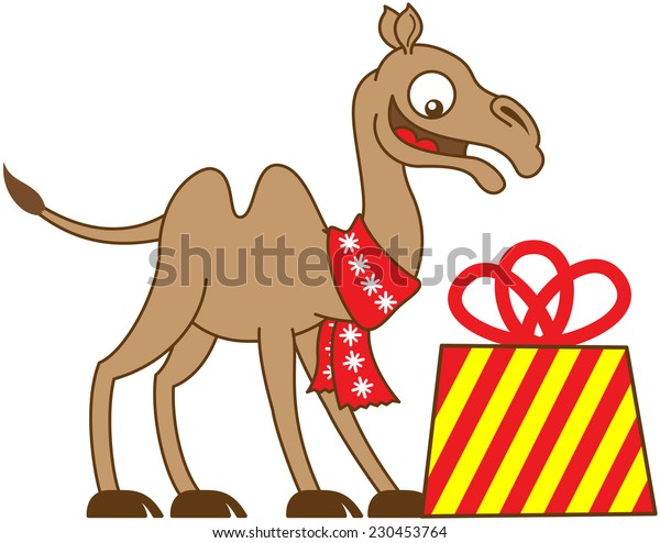 Happy camel wearing a red Christmas scarf, smiling and looking fully surprised when receiving a big and beautifully decorated gift