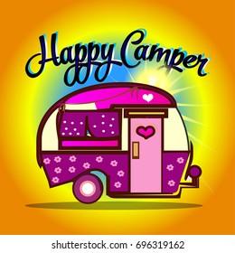 Happy camper cartoon