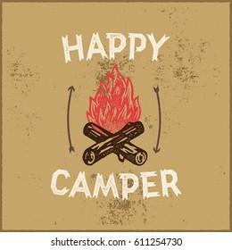Happy Camper Hand Lettering Apparel Print. Outdoor Logo Emblem. Campfire Vector Illustration