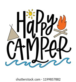 Happy Camper with illustrations