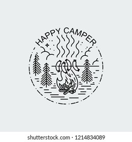 Happy Camper. Night camp with fire and barbecue. Nature exploration vector vintage poster. Modern flat linear vector illustration. Retro wildlife postcard