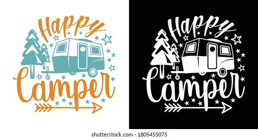 Happy Camper Printable Vector Illustration