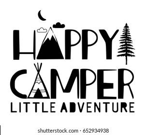 happy camper typography vector for print design or other uses.