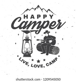Happy camper. Vector illustration. Concept for shirt or logo, print, stamp or tee. Vintage typography design with camp lantern, man with guitar and mountain silhouette. Live, love, camp.