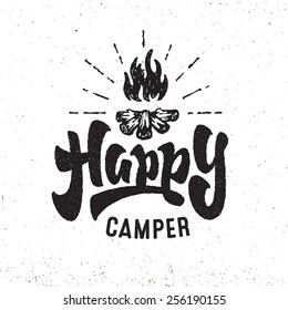 'Happy Camper' vintage Hand lettered badge phrase. Handmade Typographic lettering Art for Poster Print Greeting Card T shirt apparel design, hand crafted vector illustration