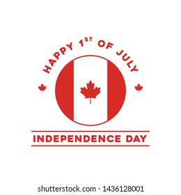 Happy Canada Day. 1st July. First of July Canada Day. Vector Illustration greeting cards. Canadian Maple leaves on a white background. Vector Illustration.