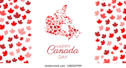 happy canada day banner design layout for greeting cards, posters, invitations, brochures