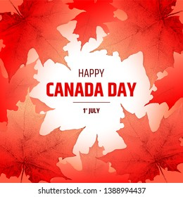 Happy Canada Day banner. Vector illustration with text and realistic maple leaves - national symbol of country.